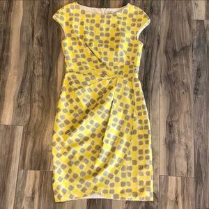 ❌ SOLD ❌ Lela Rose Yellow & Taupe Cocktail Dress